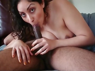 Indian milf house fit together gives slow sensual Blowjob and swallows desi chudai POV Indian